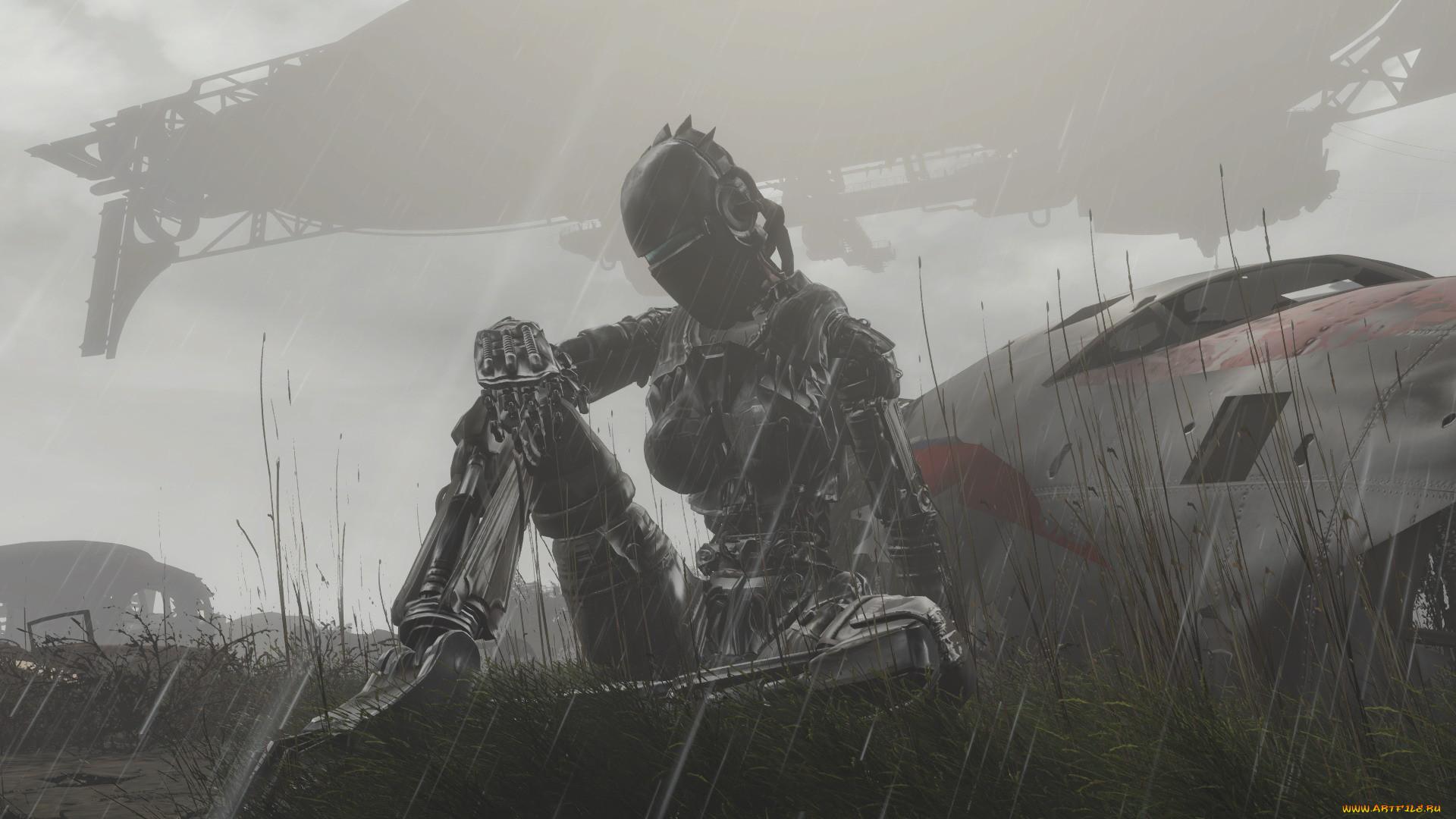фэнтези, роботы,  киборги,  механизмы, девушка, киборг, дождь, фюзеляж